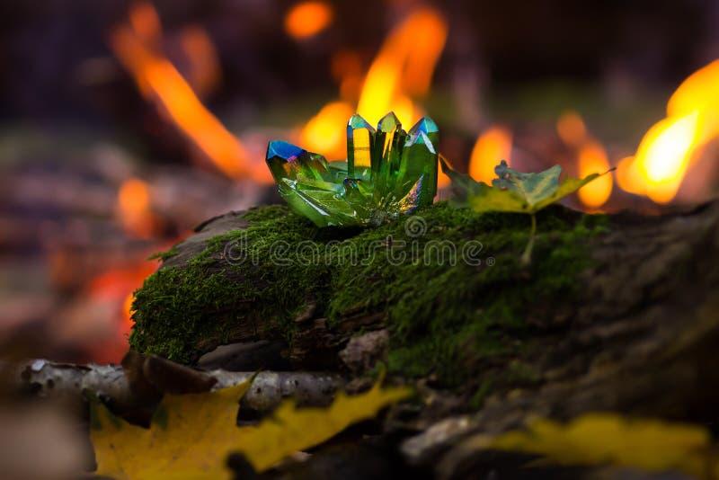 Skinande gröna magiska kristaller i skogen arkivfoton