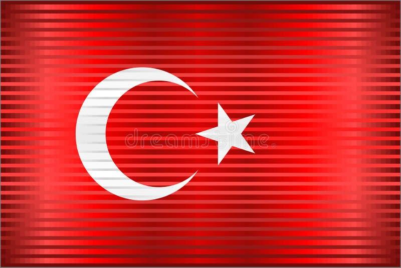 Skinande Grungeflagga av Turkiet stock illustrationer