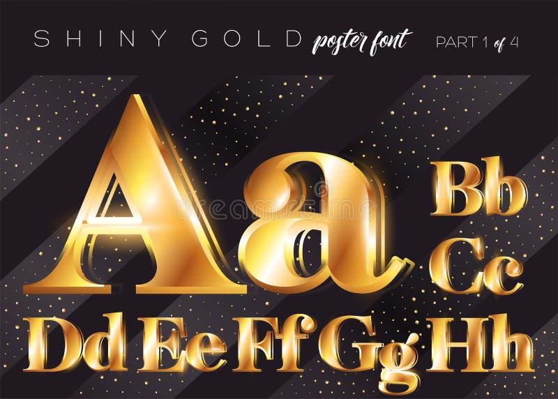 Skinande guld- alfabet för vektor Realistisk metallisk stilsort royaltyfri illustrationer