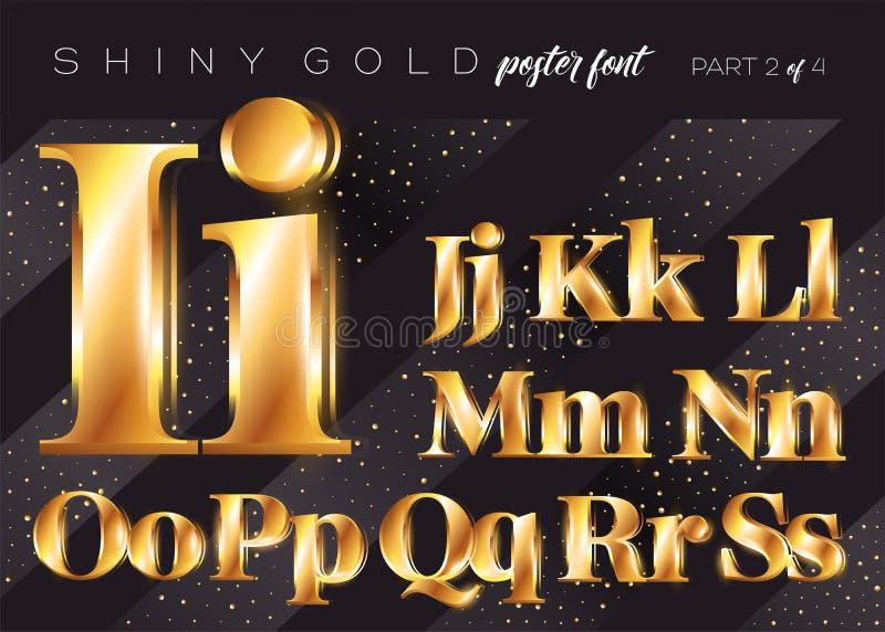Skinande guld- alfabet för vektor Realistisk metallisk stilsort vektor illustrationer