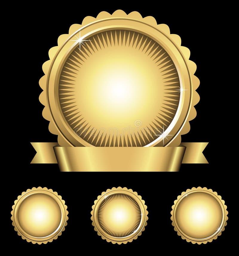 Skinande guld- emblem & skyddsremsor vektor illustrationer