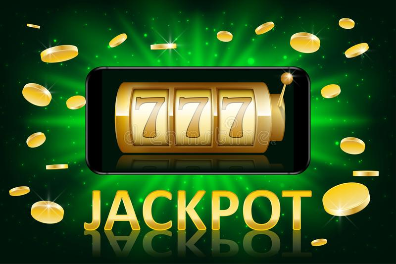 Skinande guld- kasinoetikett för jackpott med pengarmynt Vågspel för affisch för kasinojackpottvinnare med text Enarmad banditfra royaltyfri illustrationer