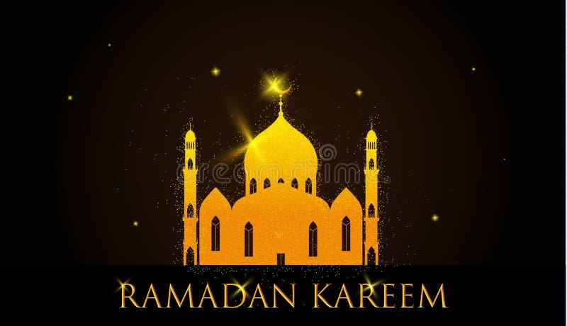 Skinande guld- moské på brun bakgrund för islamisk helig månad av böner, Ramadan Mubarak berömmar vektor illustrationer