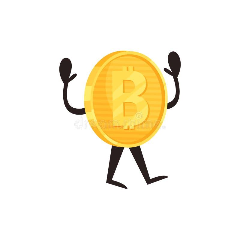 Skinande guld- mynt med bitcointecknet, ben och händer Crypto valuta eller faktiskt pengarbegrepp Plan vektorbeståndsdel för stock illustrationer
