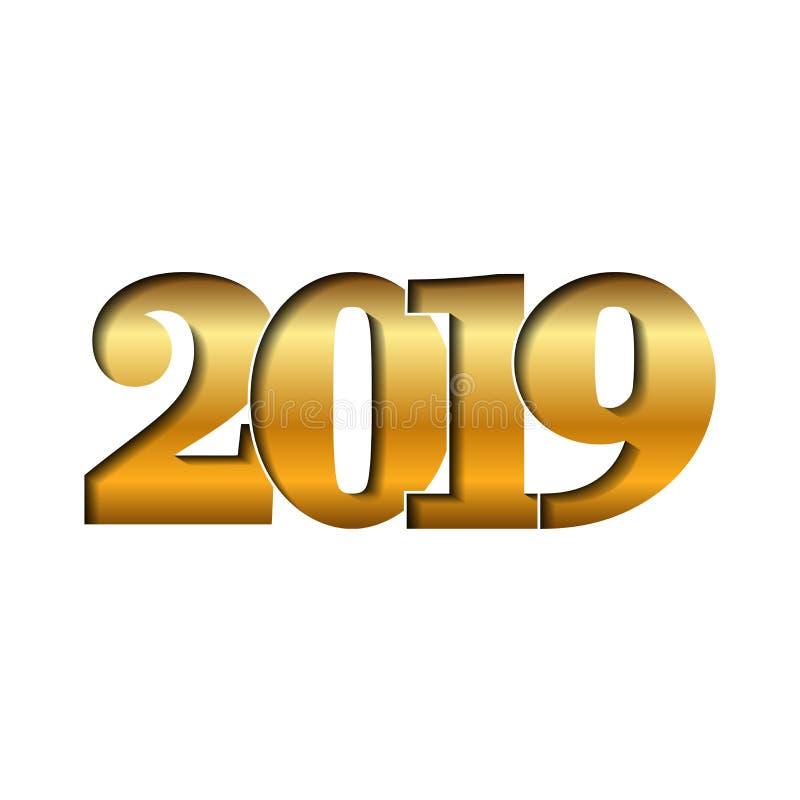Skinande guld- nummer 2019 för lyckligt nytt år   vektor illustrationer