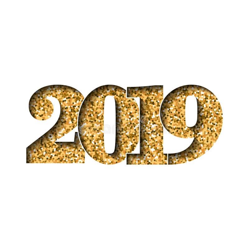 Skinande guld- nummer 2019 för lyckligt nytt år Guld- blänka siffror som isoleras på vit bakgrund Skinande glödande design, ljus royaltyfri illustrationer