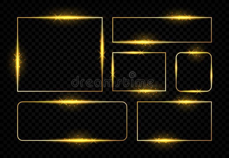 Skinande guld- ramar Magisk gräns för fyrkant med glödande guld- linjer och signalljus, vektorfödelsedagparti och bröllop royaltyfri illustrationer