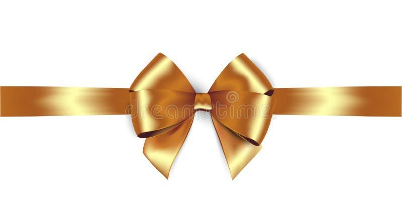 Skinande guld- satängband Guld- pilbåge för vektorisolat stock illustrationer