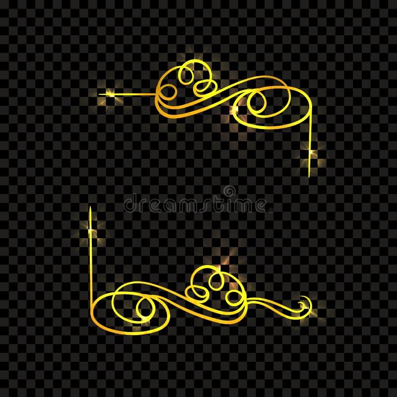 Skinande guld- tappningram för vektor som isoleras på Calligraphic virvlar för mörk genomskinlig bakgrund royaltyfri illustrationer
