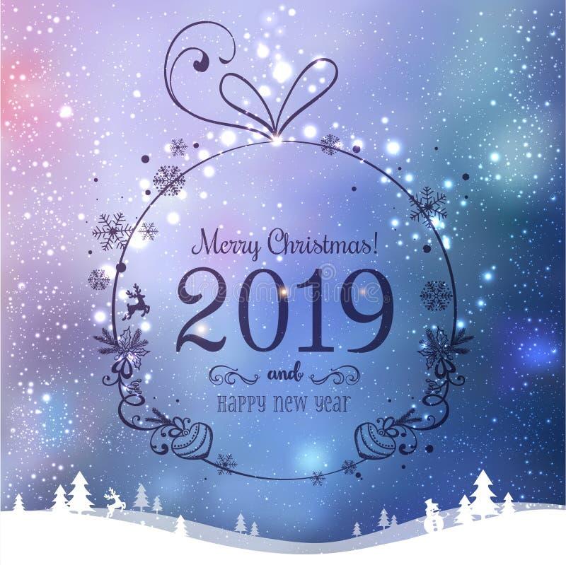 Skinande julboll för glad jul 2019 och nytt år på härlig bakgrund med ljus, stjärnor, snöflingor stock illustrationer