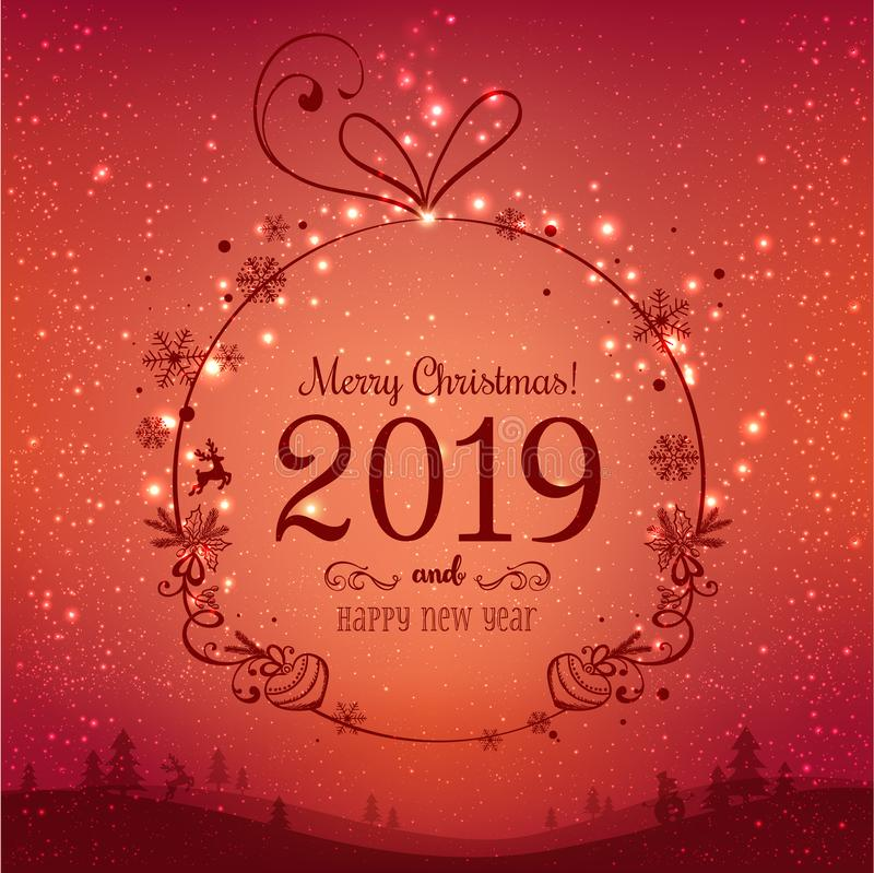 Skinande julboll för glad jul 2019 och nytt år på röd bakgrund med ljus, stjärnor, snöflingor stock illustrationer