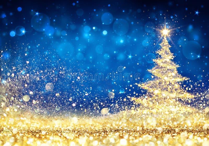 Skinande julgran - guld- blänka för damm stock illustrationer