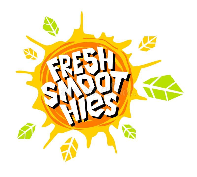 Skinande klistermärkear för ny färgstänk för smoothieslogoemblem ljus, organiska emblembaneretiketter, ny fruktsaft för fruktgrön stock illustrationer