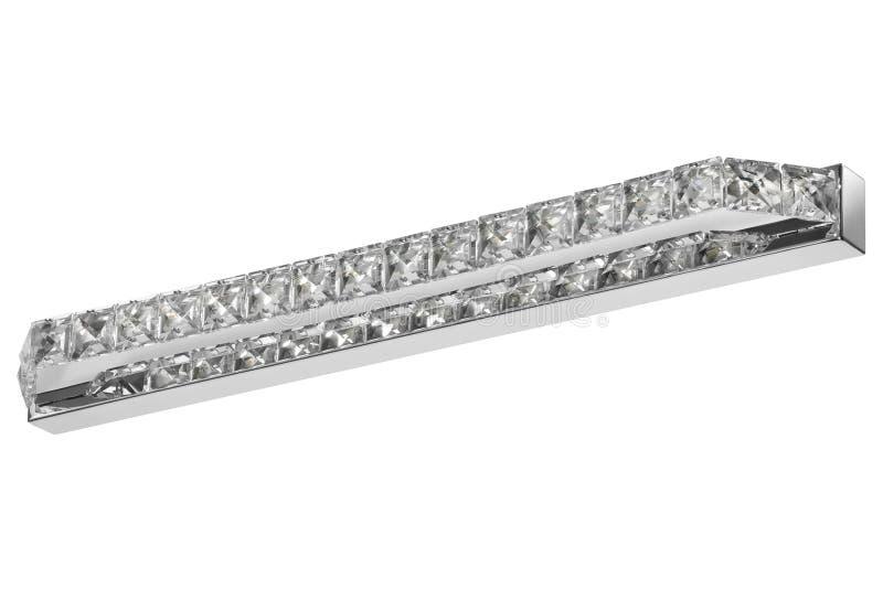 Skinande kristall, silverstål, LEDD lamplampett på vit bakgrund arkivbilder