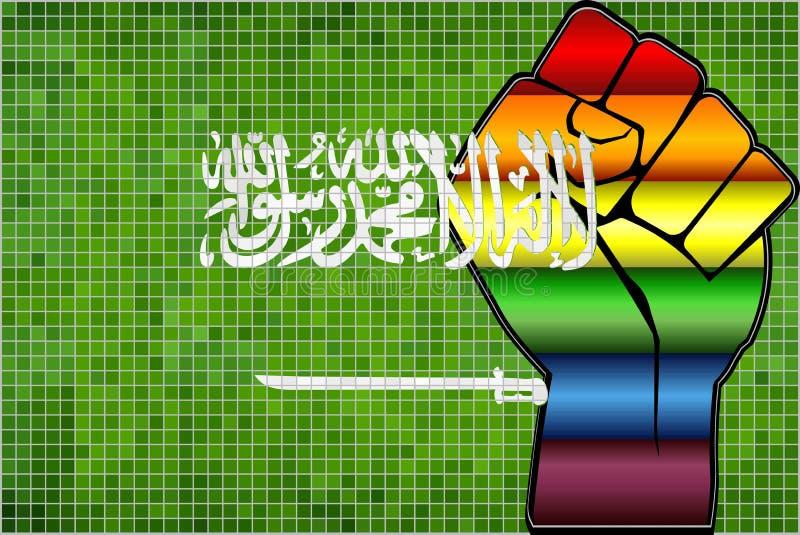Skinande LGBT-protestnäve på en Saudiarabien flagga royaltyfri illustrationer