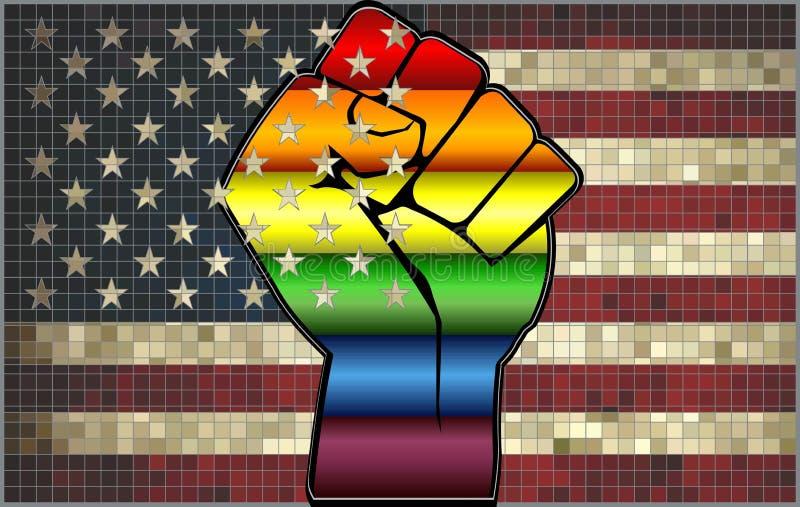 Skinande LGBT-protestnäve på en USA flagga stock illustrationer