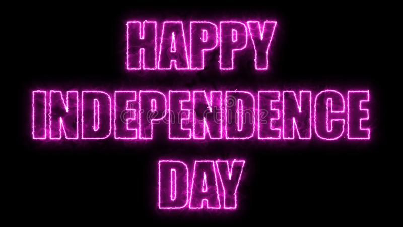 Skinande ljus text för lycklig självständighetsdagen, bakgrund för tolkning 3d, datorutveckling vektor illustrationer