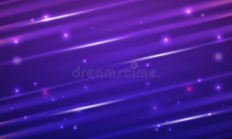 Skinande ljusa strålar skuggar på purpurfärgad bakgrund vektor illustrationer