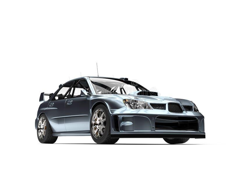 Skinande metallisk blå turnera racerbil - skönhetskott stock illustrationer