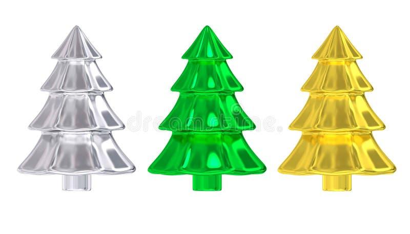 Skinande metallisk julgrandekor vektor illustrationer