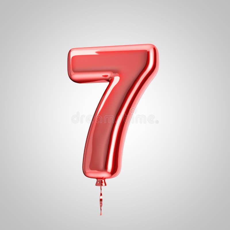 Skinande metallisk röd ballong nummer 7 som isoleras på vit bakgrund vektor illustrationer