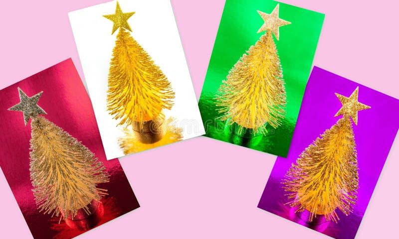Skinande metalliska julgrankort royaltyfria bilder