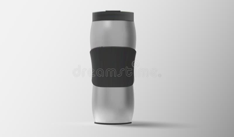 Skinande metalliskt thermo-lopp kort för kaffe, vektorillustration stock illustrationer