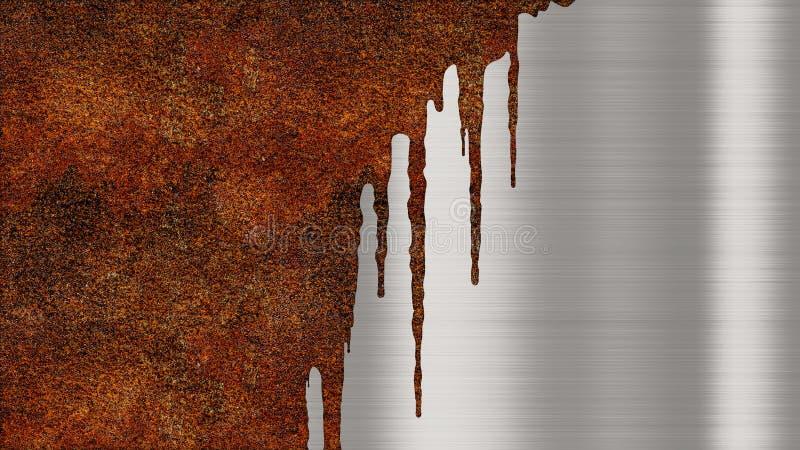 Skinande polerad metallbakgrundstextur med rostiga droppander av flytande Den borstade metalliska stålplattan spårar av orange ro royaltyfri illustrationer