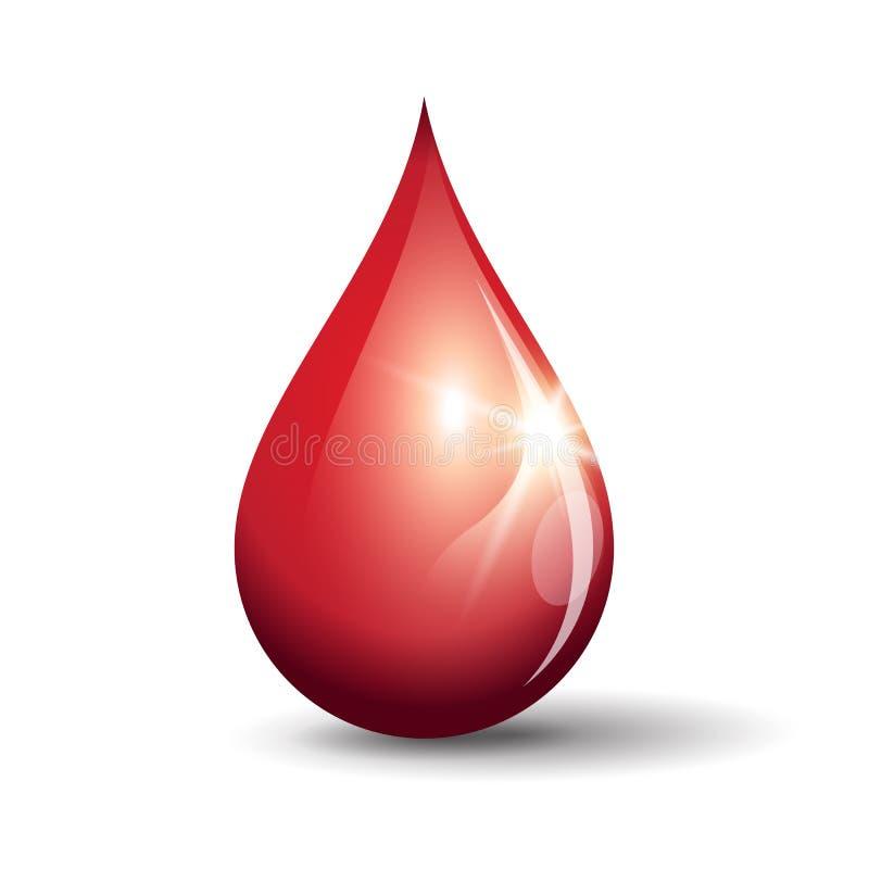 Skinande röd droppe vektor illustrationer