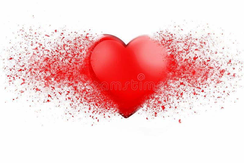 Skinande röd hjärta som exploderar i tusen stycken stock illustrationer
