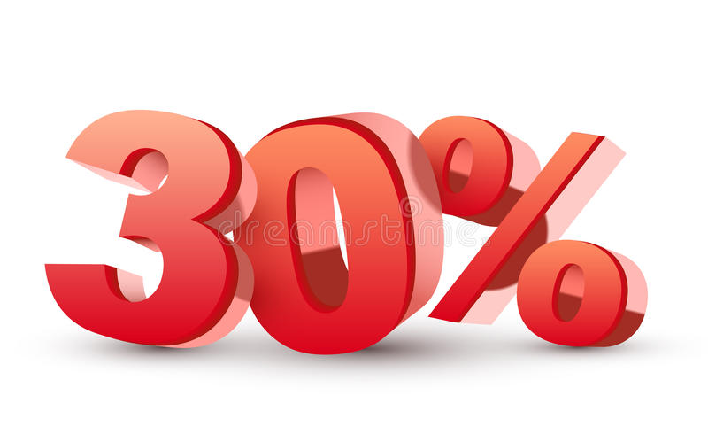 skinande röd samling för rabatt 3d - 30 procent stock illustrationer