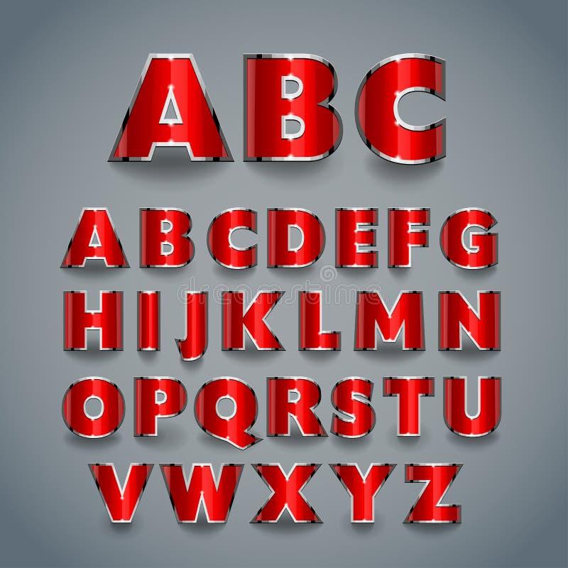 Skinande röd stilsort Alfabetdesign royaltyfri illustrationer