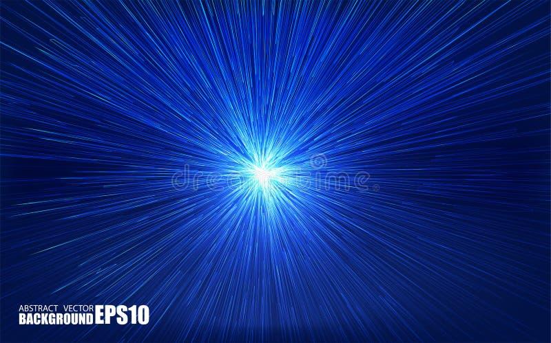 Skinande radiell bristning med linjära partiklar Vektorabsrtactillustration Blå bakgrund med explosion Skinande ljusa strålar royaltyfri illustrationer
