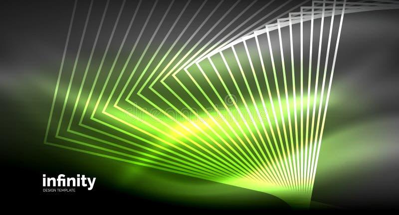 Skinande raka linjer på mörk bakgrund, digital modern mall för techno royaltyfri illustrationer