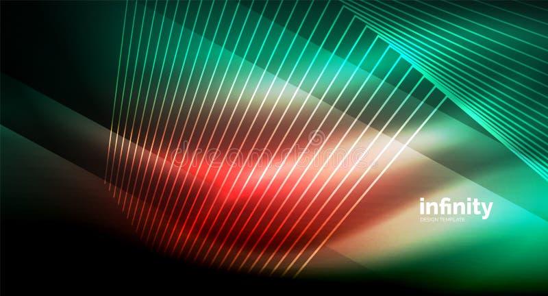 Skinande raka linjer på mörk bakgrund, digital modern mall för techno stock illustrationer