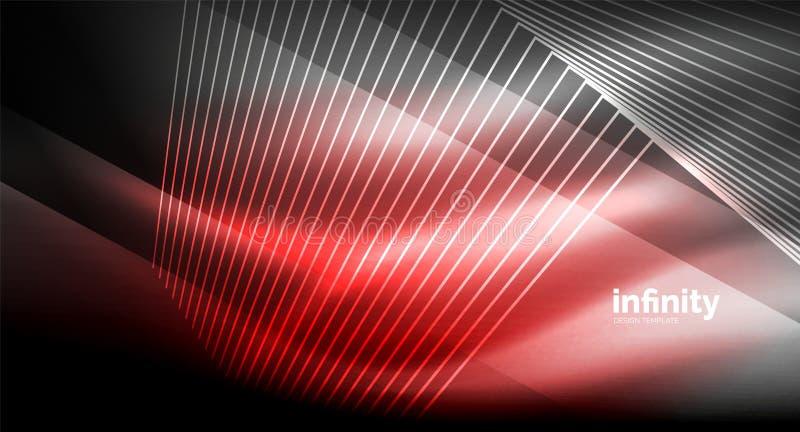 Skinande raka linjer på mörk bakgrund, digital modern mall för techno vektor illustrationer