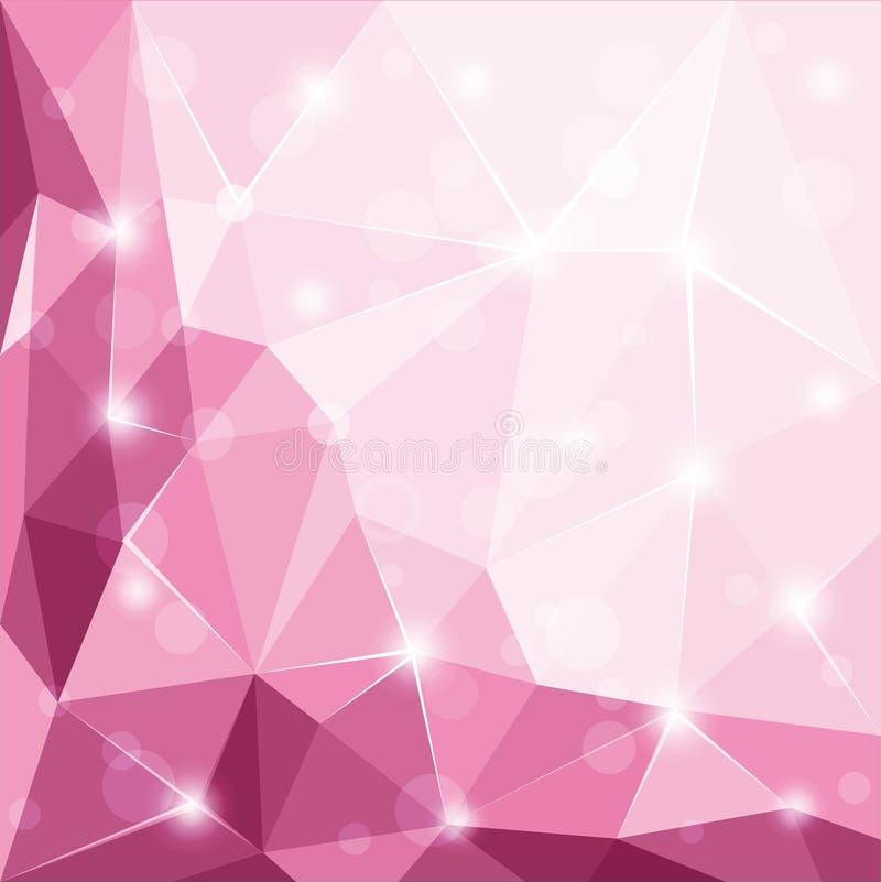 Skinande rosa bakgrundsillustration för abstrakt polygonal geometrisk fasett vektor illustrationer