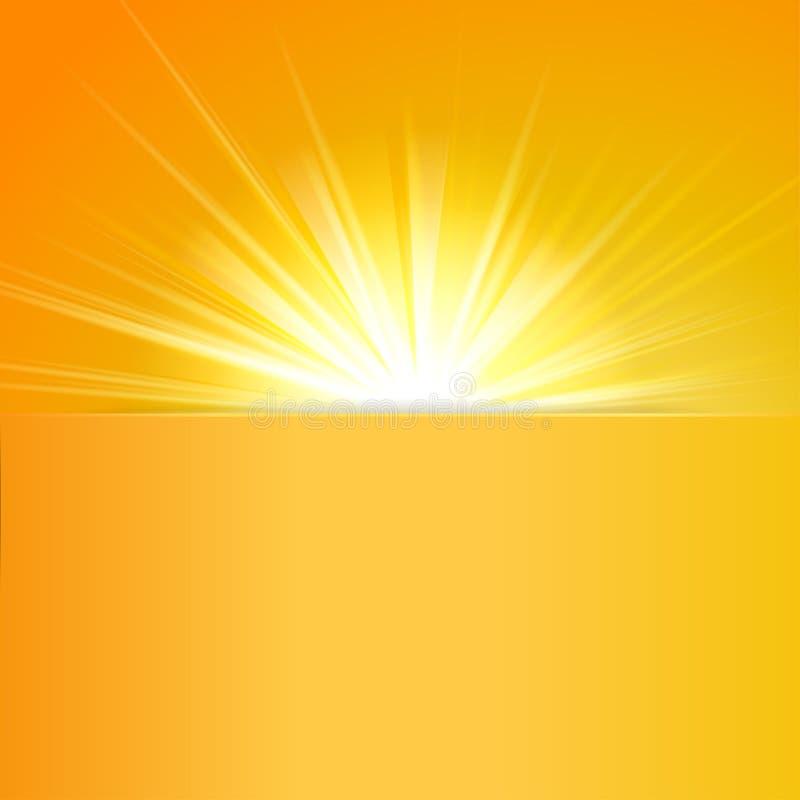 Skinande solvektor, solstrålar, solstrålar royaltyfri illustrationer