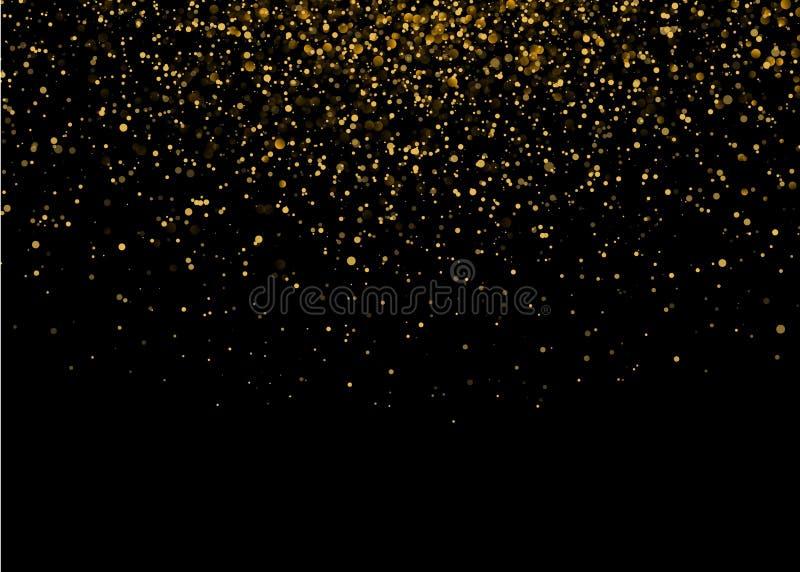 Skinande stjärnabristningsljus med guld- lyx mousserar Magisk guld- ljus effekt Vektorillustration på svart bakgrund royaltyfri illustrationer