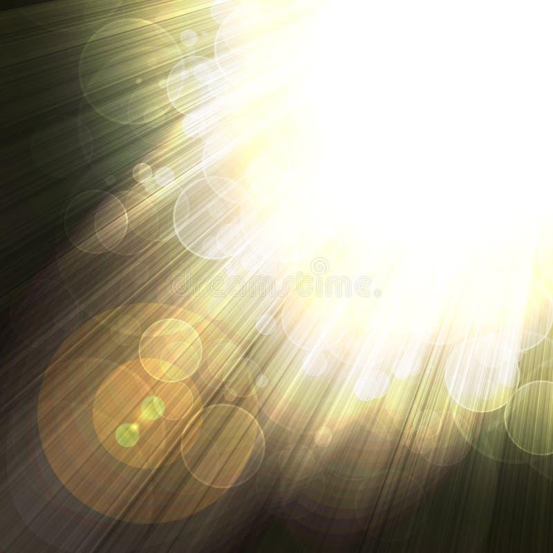 Skinande strålar av ljus på en mörk bakgrund stock illustrationer