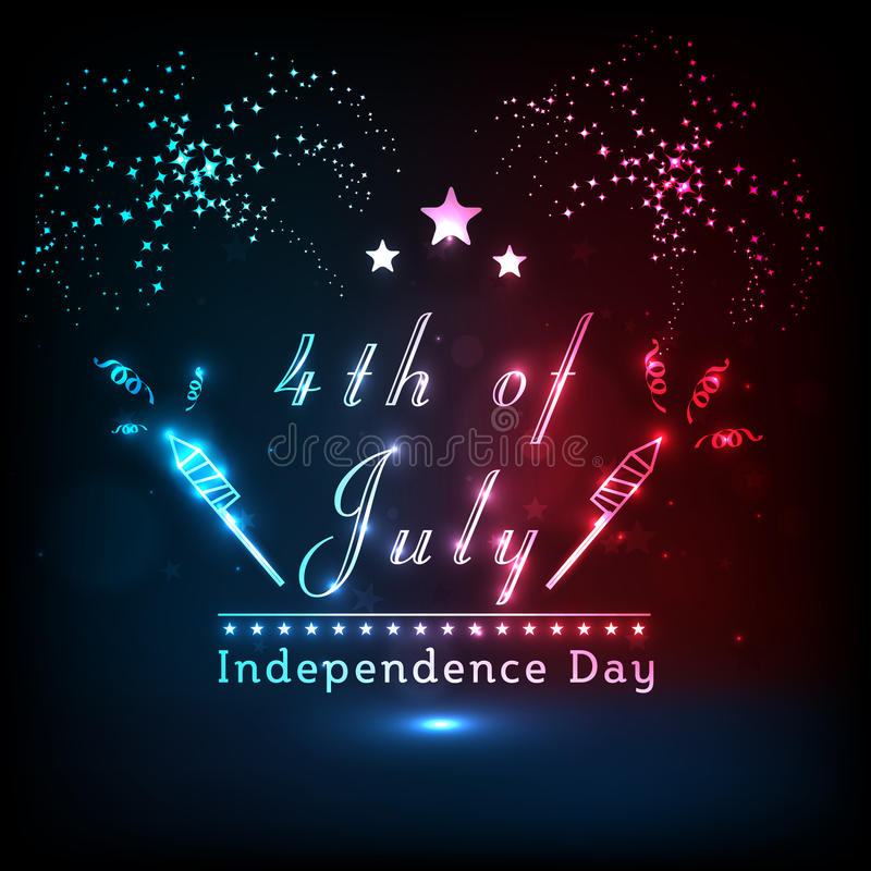 Skinande text med fyrverkerit för amerikansk självständighetsdagen stock illustrationer