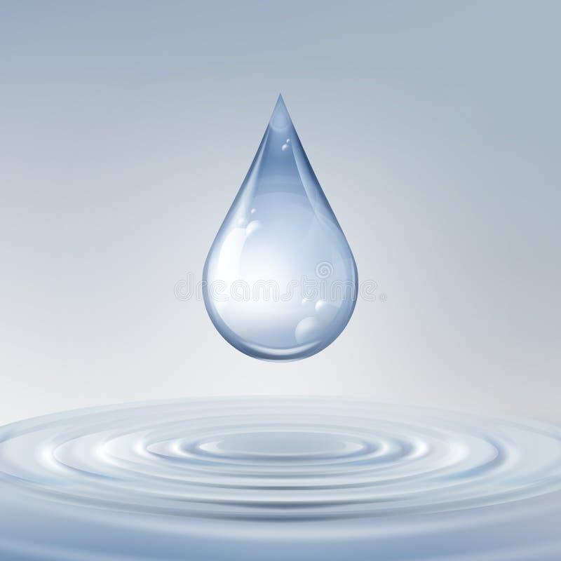 Skinande vattendroppe stock illustrationer