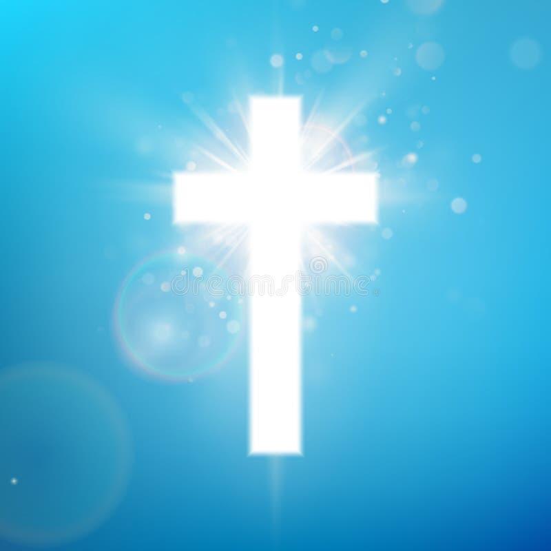 Skinande vit arg effekt på blå himmel Skinande helgonkors Riligious symbol Påsken och jul undertecknar 10 eps vektor illustrationer