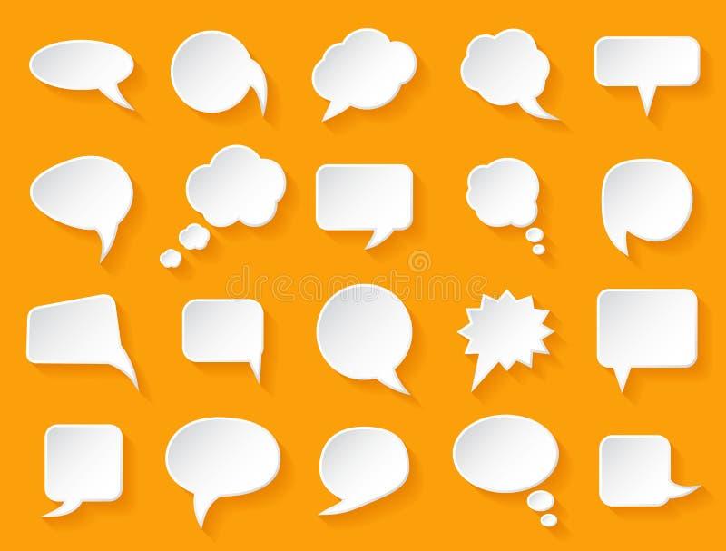 Skinande vitbok bubblar för anförande på en orange bakgrund stock illustrationer