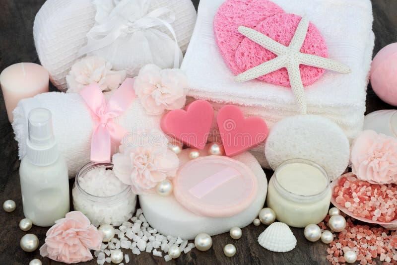 Skincare和前花叶形装饰秀丽治疗 库存图片