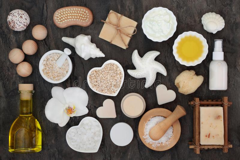 Skincare和身体关心健康产品 免版税库存图片
