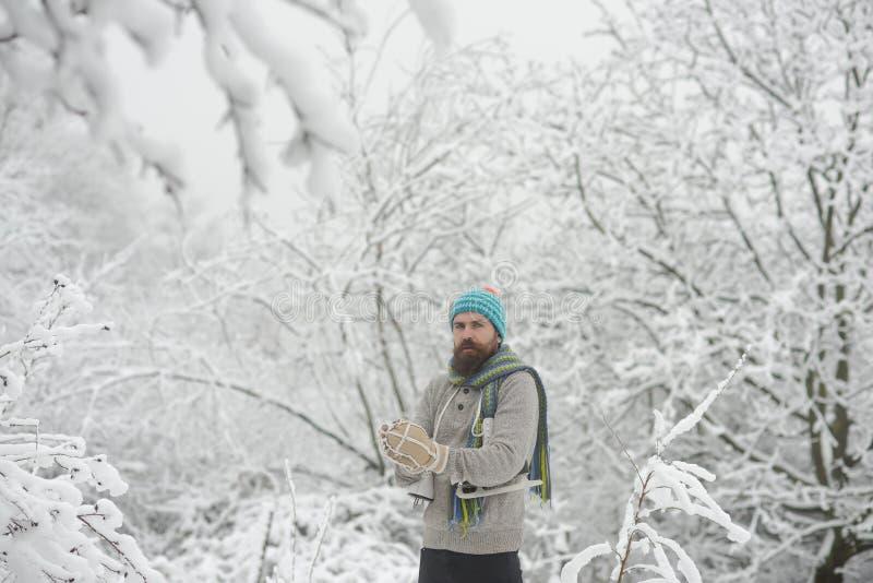 Skincare и забота бороды в зиме стоковая фотография