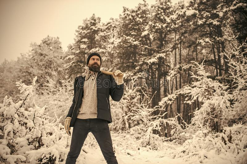 Skincare and beard care in winter, beard warm in winter. Camping, traveling and winter rest. Man lumberjack with ax. Temperature, freezing, cold snap, snowfall royalty free stock photos