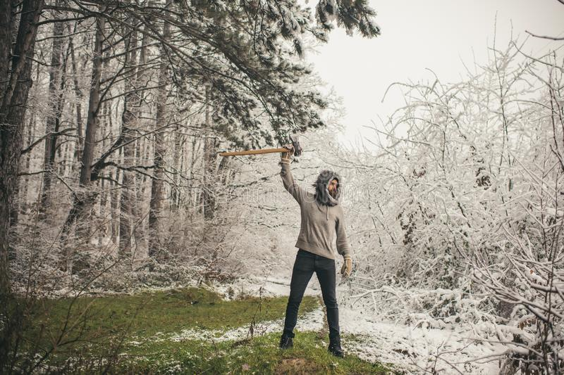 Skincare and beard care in winter, beard warm in winter. Camping, traveling and winter rest. Temperature, freezing, cold snap, snowfall. Bearded man with axe stock photography