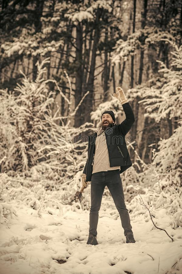 Skincare and beard care in winter, beard warm in winter. Temperature, freezing, cold snap, snowfall. Camping, traveling and winter rest. Man lumberjack with ax royalty free stock photos